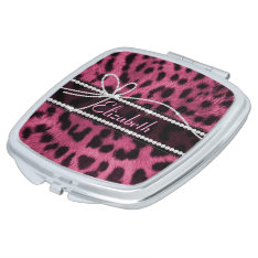 Trendy Chic Girly Faux Hot Pink Leopard Animal Fur Makeup Mirror at Zazzle
