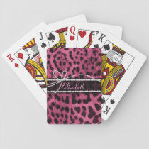 Trendy chic girly faux hot pink leopard animal fur playing cards