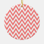 Trendy chic light coral chevron zigzag pattern christmas tree ornaments