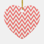 Trendy chic light coral chevron zigzag pattern christmas ornaments