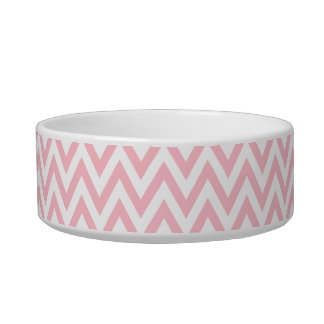 Trendy chic light pink chevron zigzag pattern cat bowl