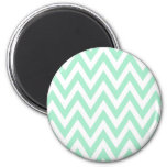 Trendy chic mint green chevron zigzag pattern magnets