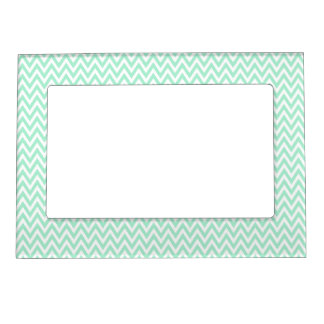 trendy chic mint green chevron zigzag pattern magnetic picture frame - Mint Picture Frames