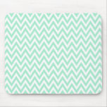 Trendy chic mint green chevron zigzag pattern mouse pad