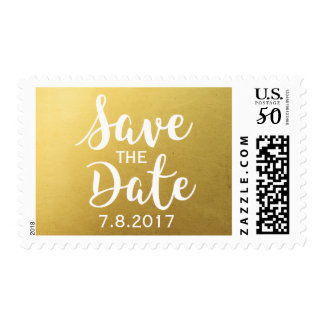 Trendy Chic Modern Gold Save the Date Custom Postage