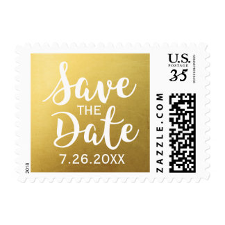 Trendy Chic Modern Gold Save the Date Postcard Postage