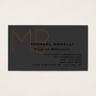Trendy chic monogram black gray business card