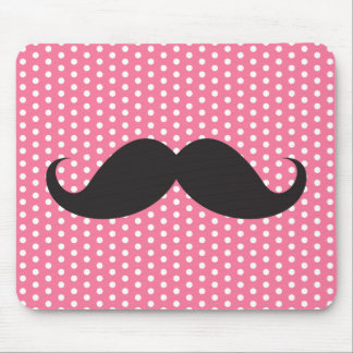 Trendy chic moustache pink polka dot dots pattern mouse pad