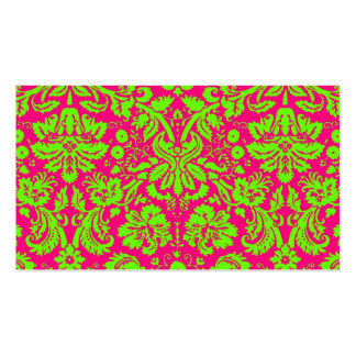 Trendy Chic Neon Damask Green on Pink Business Card Template