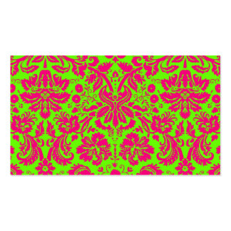 Trendy Chic Neon Damask Pink on Green Business Card