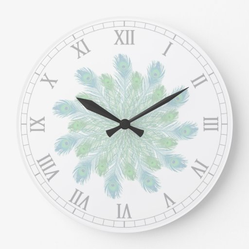 Trendy Chic Peacock Feathers Clocks