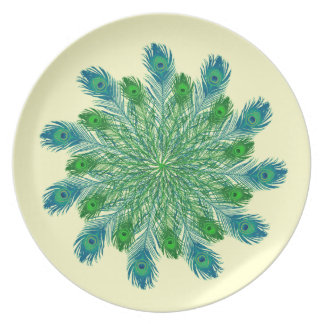 Trendy Chic Peacock Feathers Dinner Plate