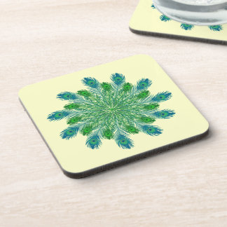 Trendy Chic Peacock Feathers Drink Coaster