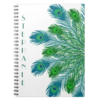 Trendy Chic Peacock Feathers Spiral Notebook