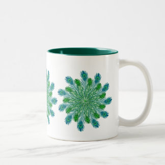 Trendy Chic Peacock Feathers Two-Tone Coffee Mug