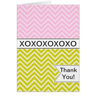 Trendy Chic Pink Chevron XOXO Thank You Card
