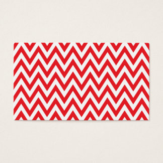 Trendy chic red chevron zigzag pattern business card