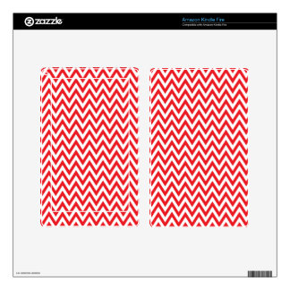 Trendy chic red chevron zigzag pattern kindle fire skin