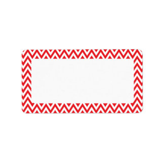 Trendy chic red chevron zigzag pattern labels