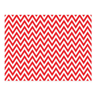 Trendy chic red chevron zigzag pattern postcard