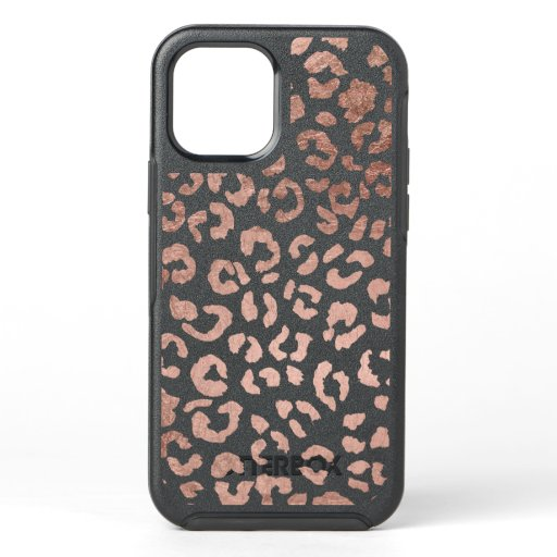 Trendy chic rose gold cheetah leopard pattern OtterBox symmetry iPhone 12 case
