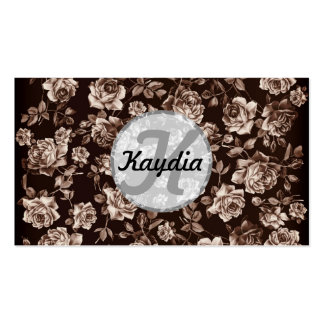 Trendy Chic  Sepia B&w Vintage Floral Monogram Business Card Template