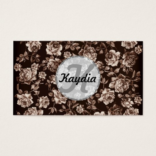 Trendy Chic  Sepia B&w Vintage Floral Monogram Business Card