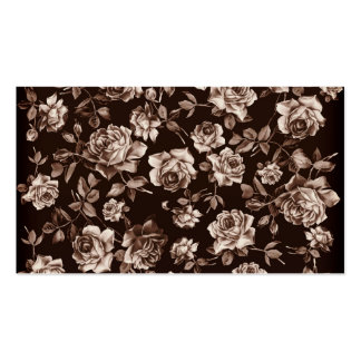 Trendy Chic Sepia Tone B&w Vintage Elegant Floral Double-Sided Standard Business Cards (Pack Of 100)