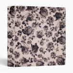 Trendy Chic White & Black Vintage Elegant Floral Vinyl Binder