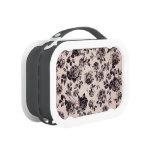 Trendy Chic White & Black Vintage Elegant Floral Yubo Lunch Box