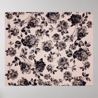 Trendy Chic White & Black Vintage Elegant Floral Poster
