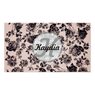 Trendy Chic White & Black Vintage Floral Monogram Business Card Templates