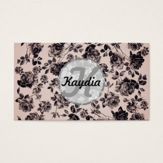 Trendy Chic White & Black Vintage Floral Monogram Business Card
