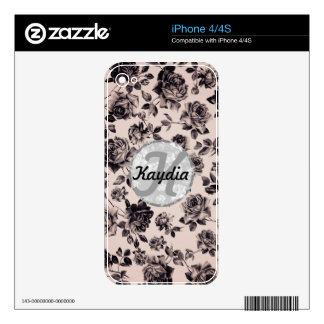 Trendy Chic White & Black Vintage Floral Monogram Skins For The iPhone 4