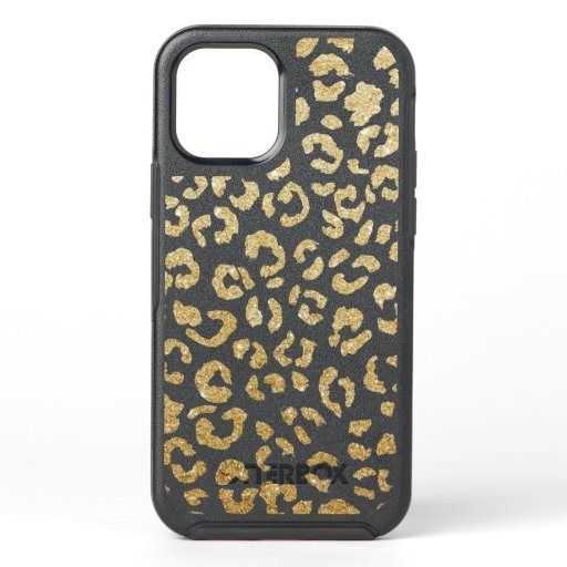 Trendy chic yellow gold cheetah leopard pattern OtterBox symmetry iPhone 12 case