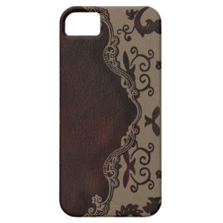 trendy chocolate Brown leather Damask iphone5 case iPhone 5 Cover