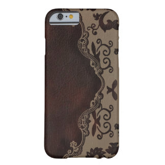 trendy chocolate Brown leather Damask iPhone 6 cas Barely There iPhone 6 Case