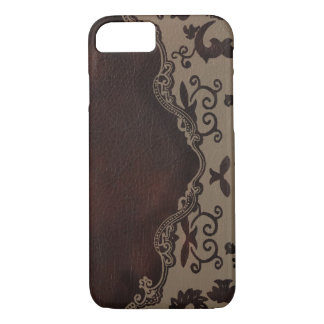 trendy chocolate Brown leather Damask iPhone 7 cas iPhone 8/7 Case