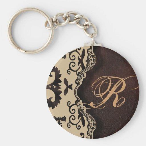 trendy chocolate Brown Monogram Damask fashion Key Chain