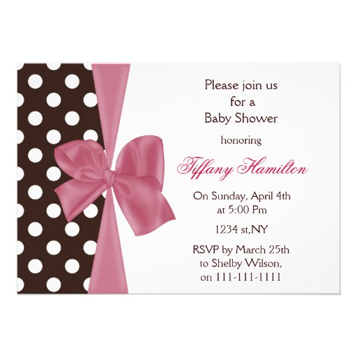 trendy chocolate pink bow Baby shower Invitation