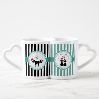 Trendy Christmas funny Santa cat love couple Couples Coffee Mug