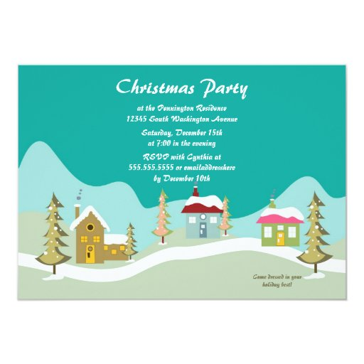 Trendy Christmas holiday trees party invitation