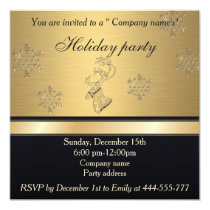 Trendy Christmas reindeer golden holiday party Invitation