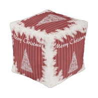 Trendy Christmas tree holiday Cube Pouf