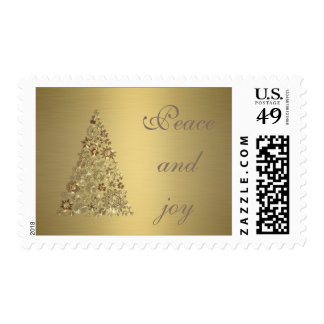 Trendy Christmas tree holiday peace and joy gold Postage