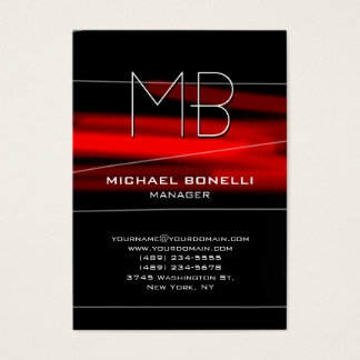 Trendy chubby black red monogram business card