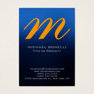 Trendy chubby blue yellow monogram business card