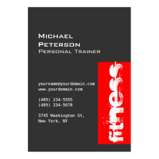 Trendy Chubby Grey Red Fitness Sport Business Card
