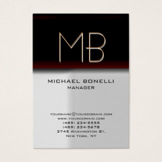 Trendy chubby grey red stylish business card