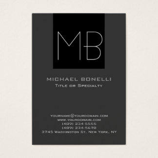 Trendy chubby modern gray black business card
